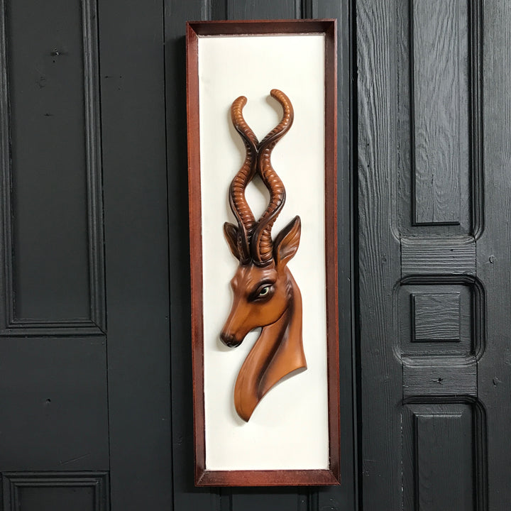 Mid Century 'Antelope' Ceramic framed Wall Plaque