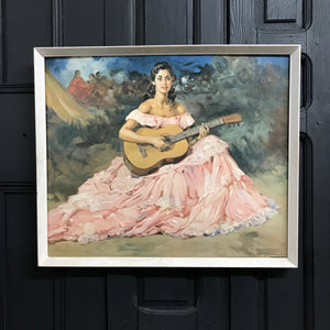 Mid Century 'Flamenco Lady' Framed Print #A11