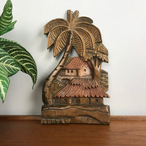 Palms Carved Wood Wall Plaque