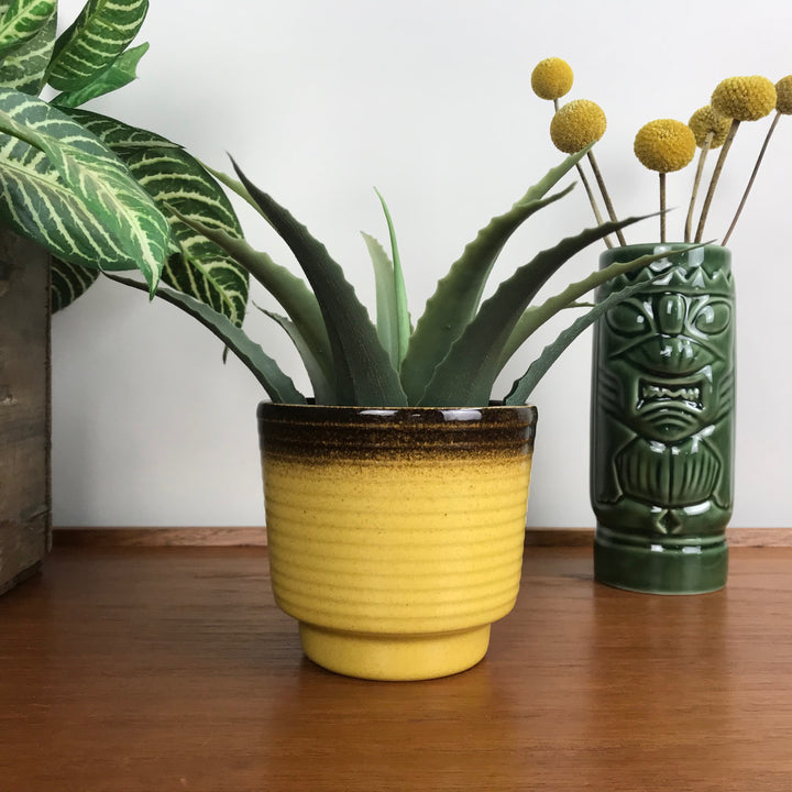 Small Vintage Mustard Ceramic Planter