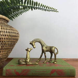 Vintage Brass Giraffe Mother & Calf Set