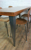 Large foundry steel leg vintage iroko industrial desk/table 1