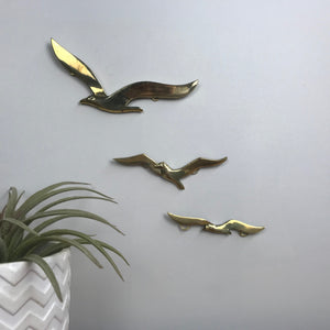Trio of Brass Mid Century Flying Seagulls
