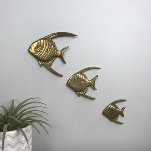 Trio of Brass Mid Century Angel Fish