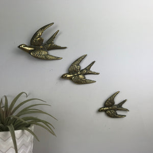Brass Mid Century Flying Swallows #AA
