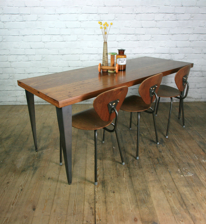 Large foundry steel leg vintage iroko industrial desk/table