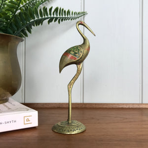 Mid Century Brass Crane - colour/etched