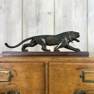 Mid Century Horn Carved 'Big Cat'