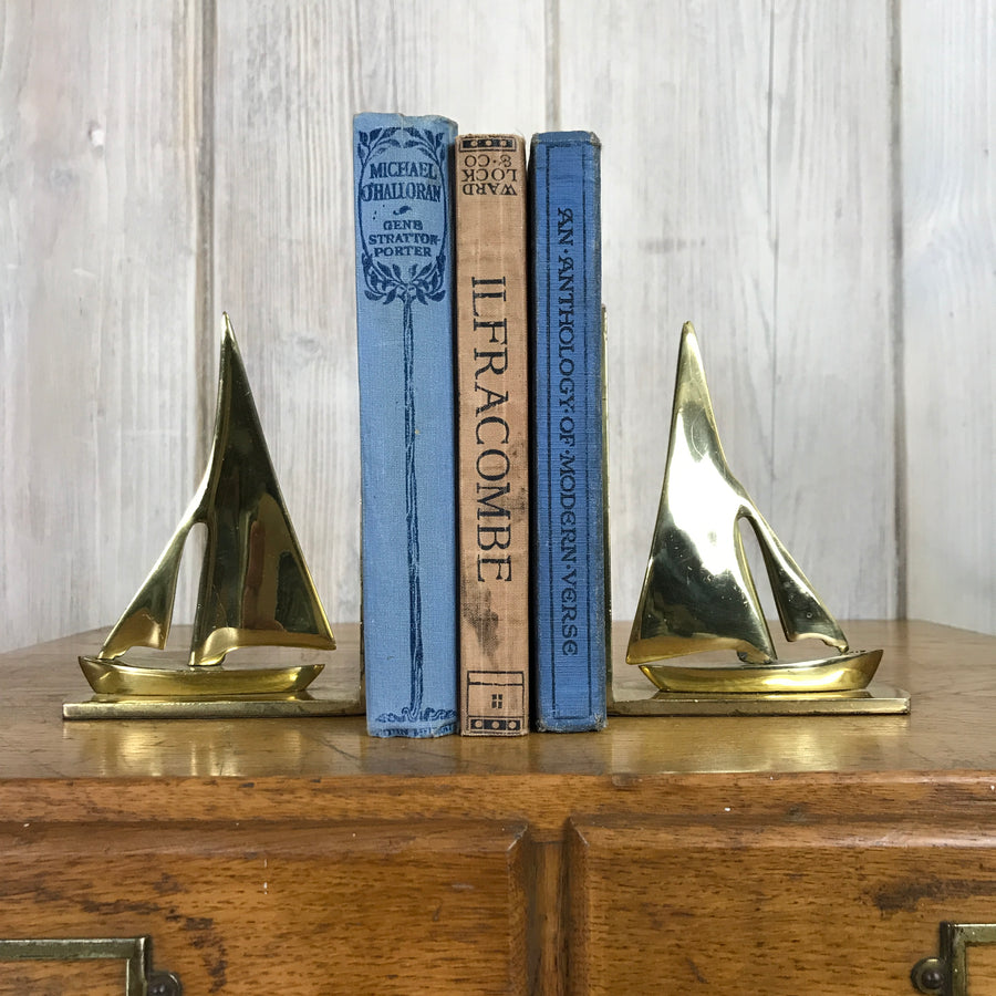 Mid Century Brass Yacht Bookends