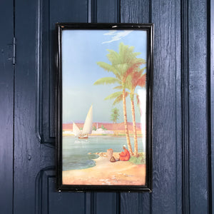 Vintage Framed Palm Tree/Beach Scene