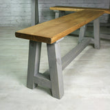 Reclaimed A-frame rustic bench (grey)