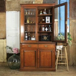 antique_vintage_walnut_display_cabinet