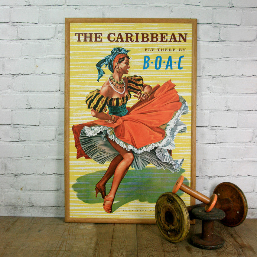 Vintage 'Caribbean' travel poster by B.O.A.C Airlines