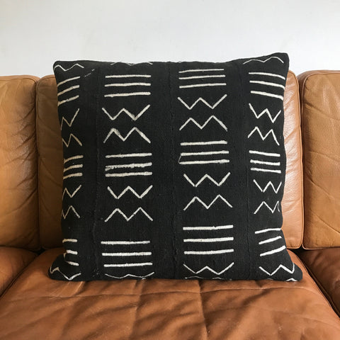 Black Mud Cloth Cushion Cover - 50cm x 50cm - Print #1
