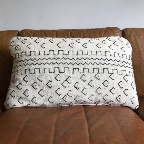 White Mud Cloth Cushion Cover - 60cm x 40cm - Print #2