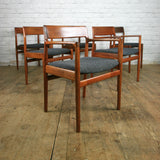 Vintage Extending Dining Table & Six Reupholstered Dining Chairs