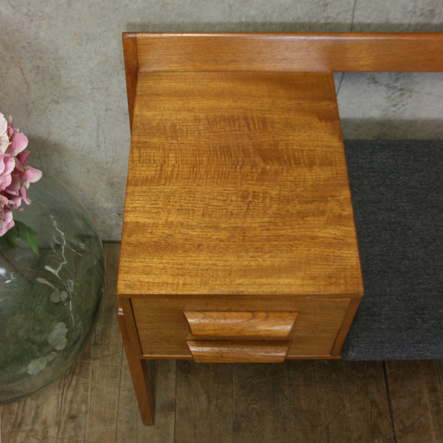 Mid Century Chippy Heath Teak Telephone Seat #0618