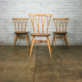 X3 Vintage Mid Century Ercol Candlestick Chiltern Chairs