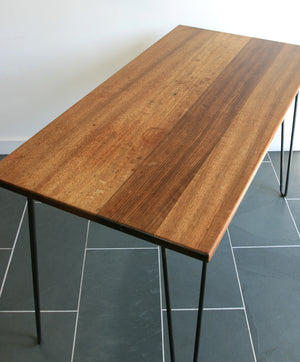 **Bespoke order for Adam** 'The Hairpin' Iroko Desk/Table with steel legs