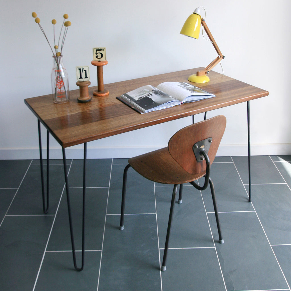 'The Hairpin' Bespoke Iroko Desk/Table with steel legs