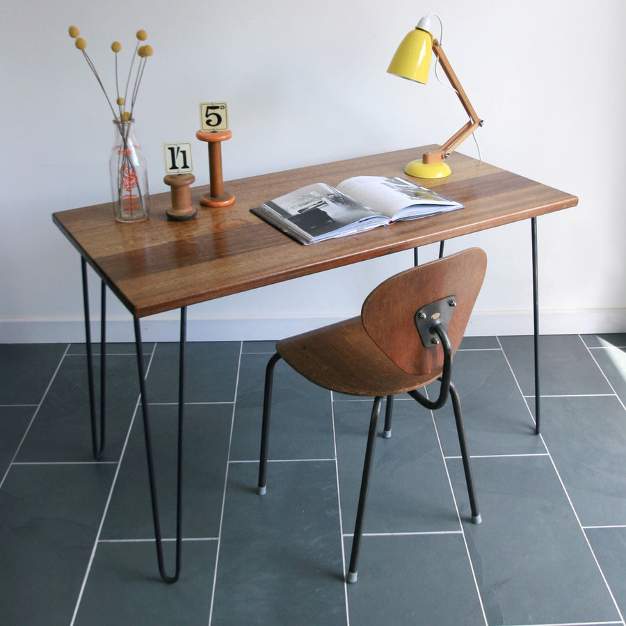 'The Hairpin' Iroko Desk with Steel Hairpin Legs