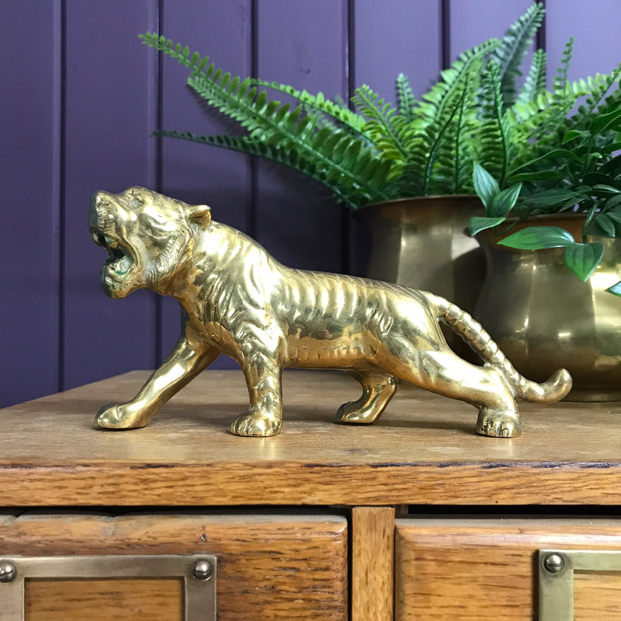 MEDIUM Vintage Mid Century Brass Tiger