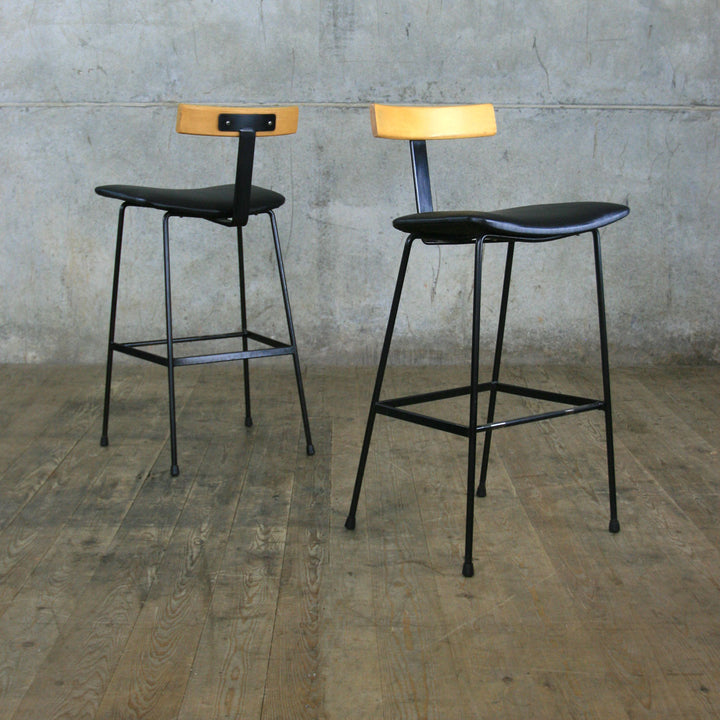Pair of Frank Guille Kandya Program Bar Stools