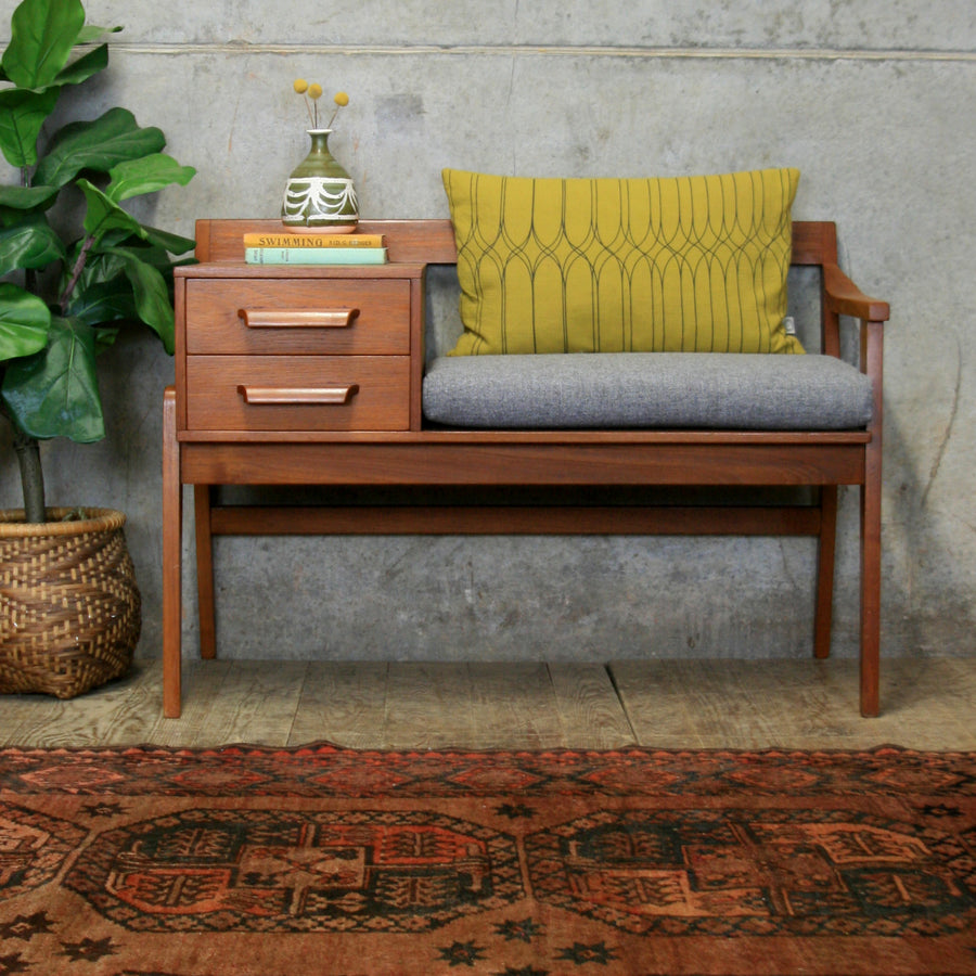 Vintage Chippy Heath Teak Telephone Seat #0114q