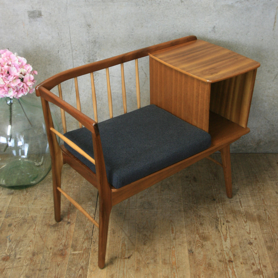 Vintage Mid Century Chippy Heath Telephone Seat