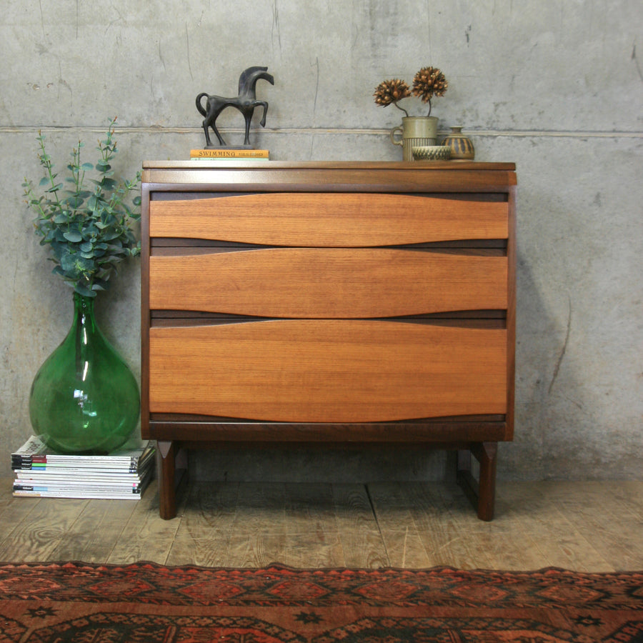 Mid Century Teak Tallboy Chest of Drawers – 0509k