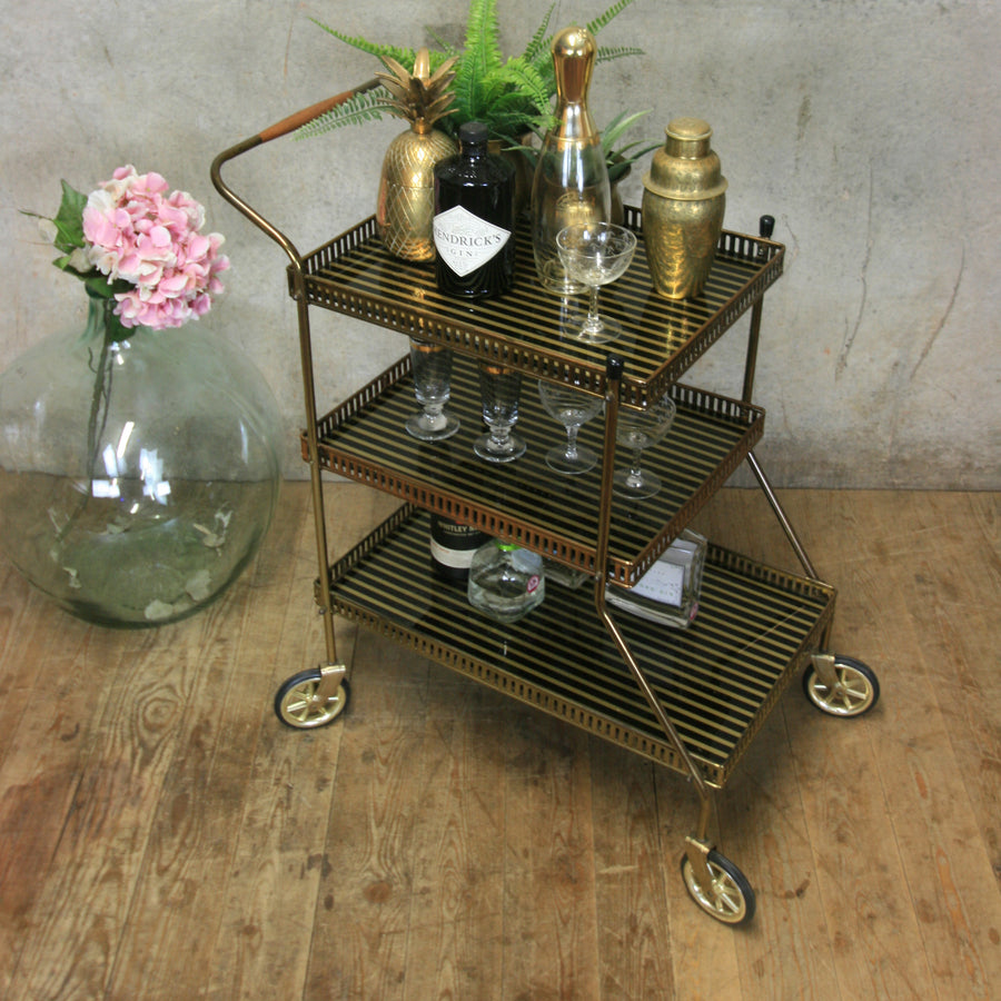Mid Century Brass Three Tier Drinks Trolley / Bar Cart #0618