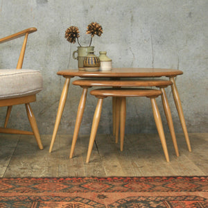 Ercol Elm & Beech Pebble Nest of Tables – 0607k