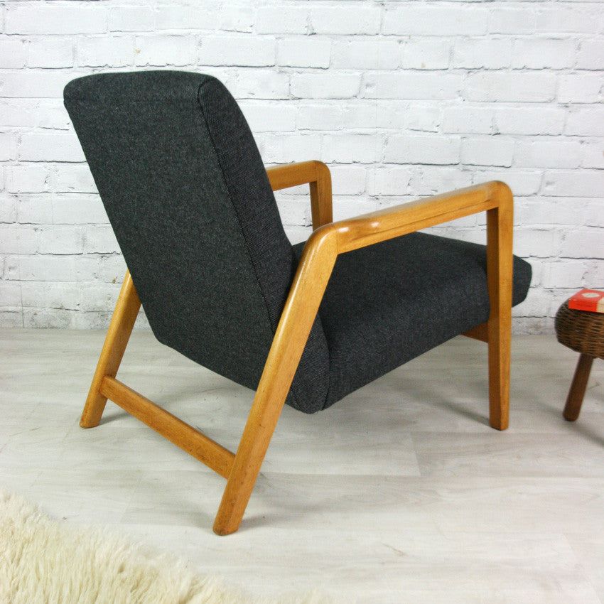 Mid century vintage upholstered armchair – two of a pair