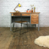 Vintage Abbess Rustic Oak School Teachers Desk