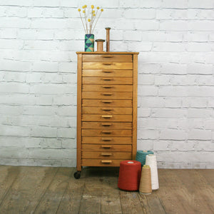 Vintage oak habedashery shop cotton chest of drawers