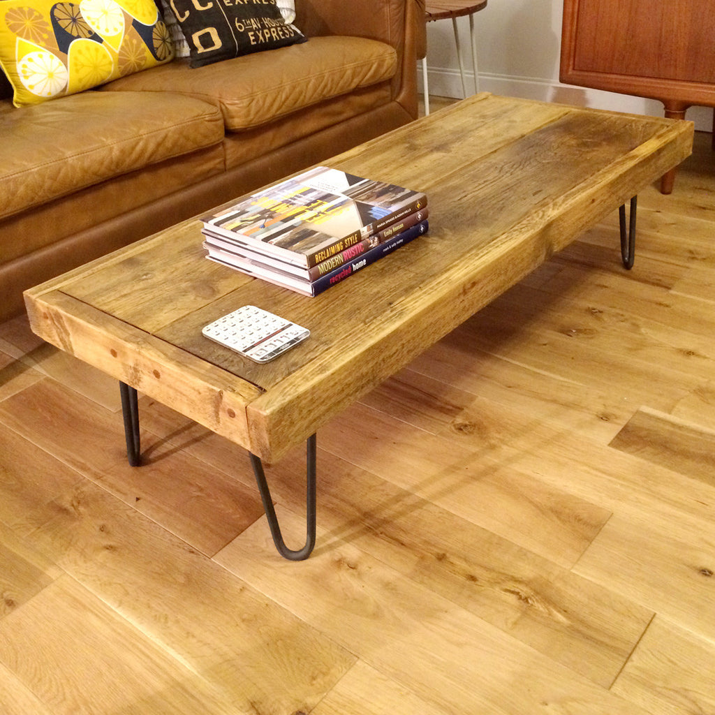39 the hairpin 39 rustic coffee table 1 x oak wax finish in. Black Bedroom Furniture Sets. Home Design Ideas