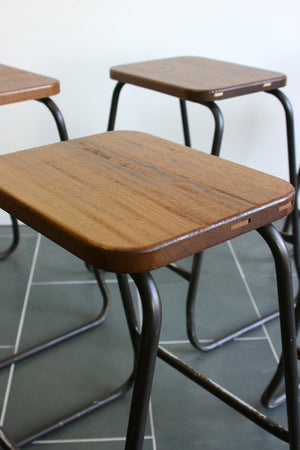 Set of 4 Reclaimed Iroko School Lab Stacking Stools