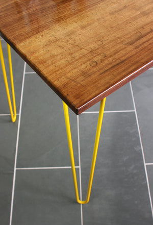 Hairpin Iroko Desk / Table in YELLOW (made to order)