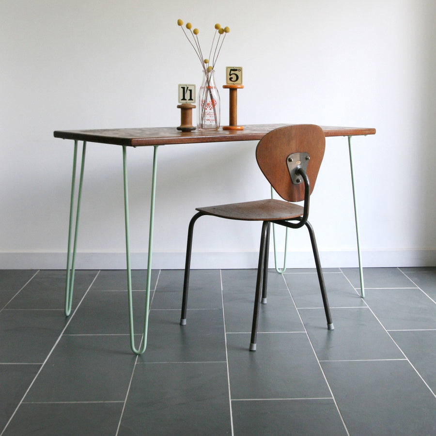 'The Hairpin' Iroko Desk/Table in MINT GREEN #A1