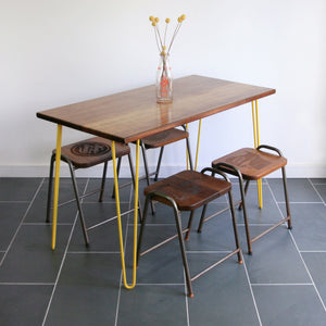 Hairpin Iroko Desk / Table in YELLOW