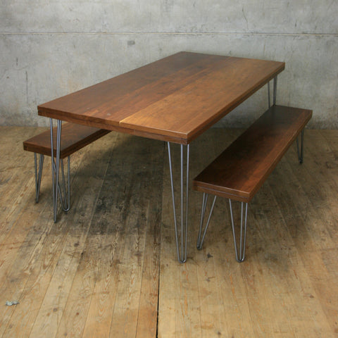 Reclaimed Iroko Hairpin Dining Table and Bench Set