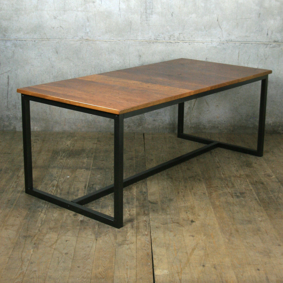 'The Harnall' Reclaimed Iroko Steel Framed Dining Table (Bespoke/Made to order)