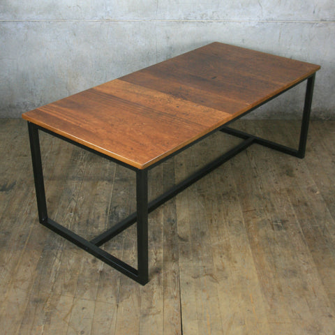 'The Harnall' Reclaimed Iroko Steel Framed Dining Table *1 in Stock ready for delivery*