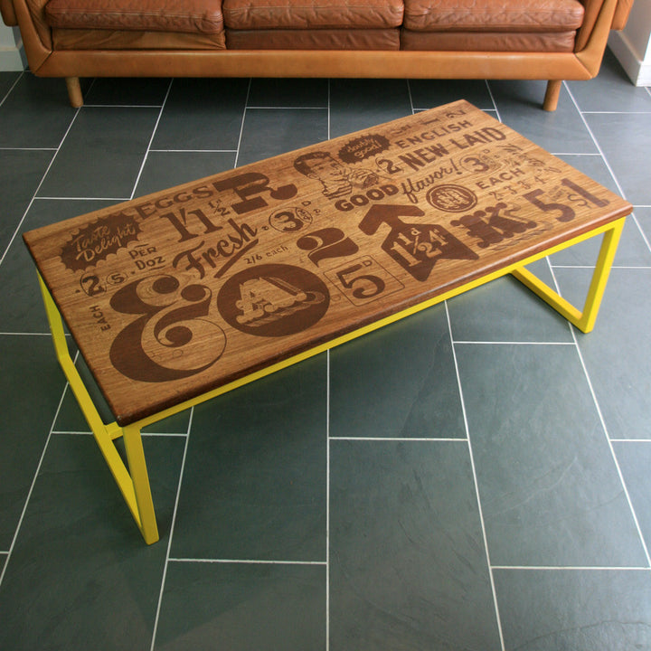 *LIMITED EDITION* 'The Harnall – Taste Delight' Foodie inspired Iroko Coffee Table