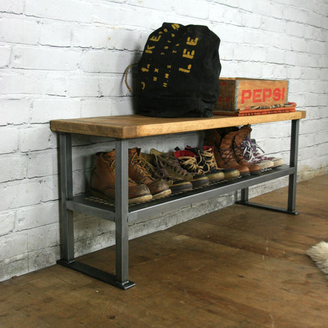 *NEW SIZE* Rustic Industrial Shoe Bench * 1 in stock *