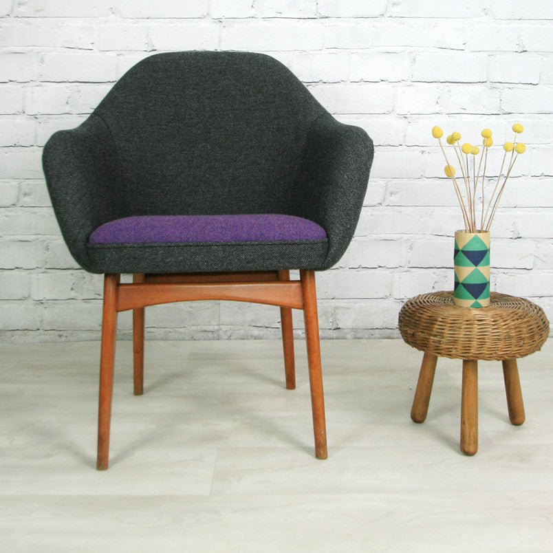Mid century vintage club/cocktail chair – charcoal