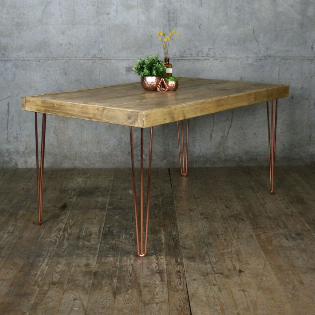 Hairpin leg vintage industrial dining table 190 x 90cm for Vintage hairpin table legs