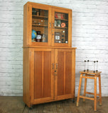 Vintage oak school laboratory display cabinet