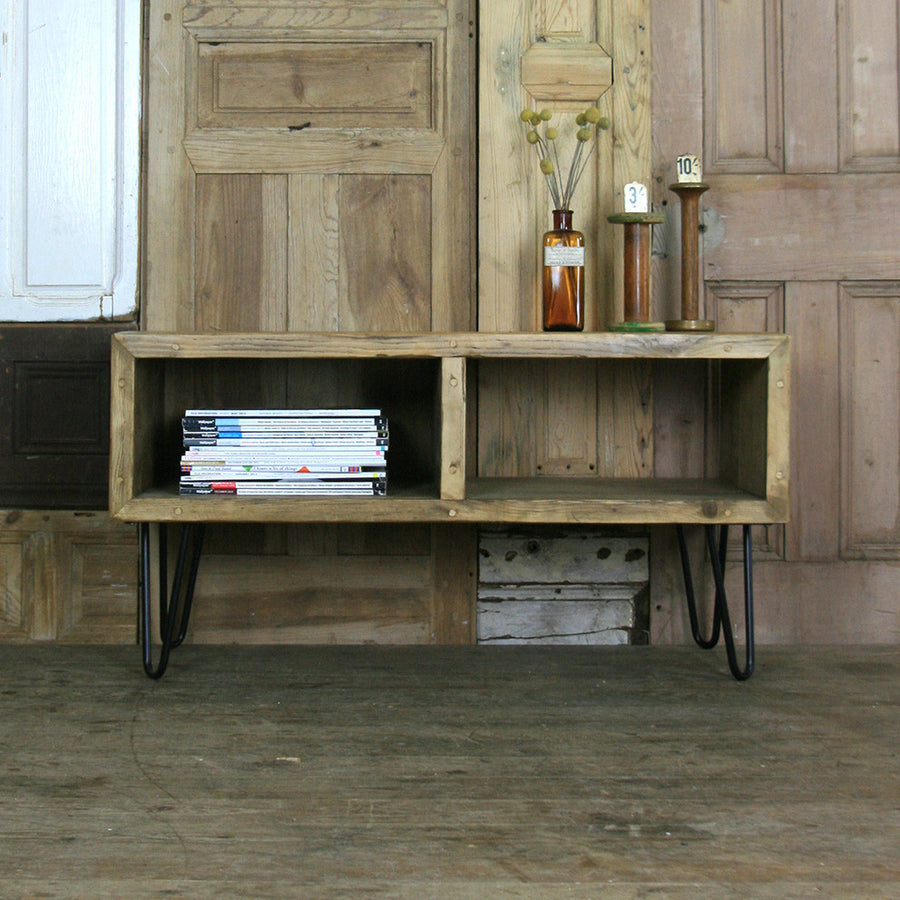 'The Hairpin' Rustic Media Unit - SMALL - *1 Oak Finish in stock*