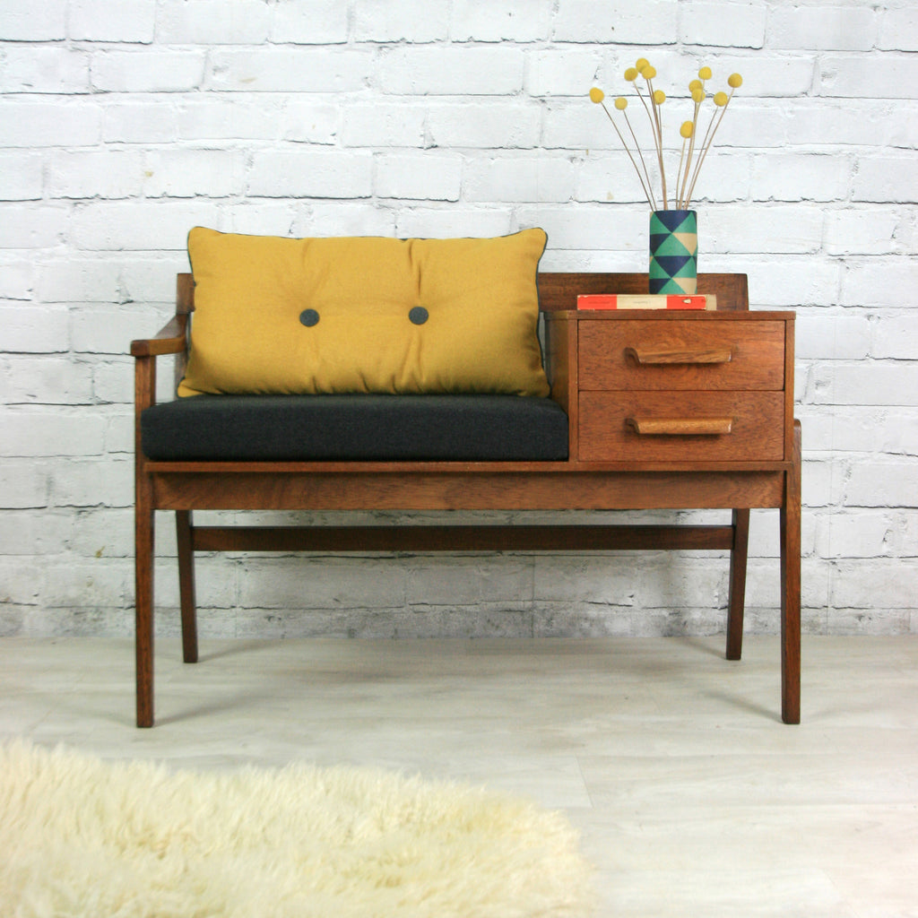 vintage teak 1960s telephone seat mustard vintage. Black Bedroom Furniture Sets. Home Design Ideas